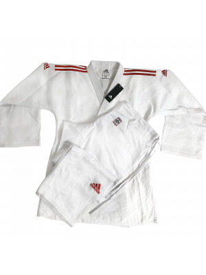Adidas judo gi - Champion 2.0 - IJF Red Label - Hvid / Rød - Slim Fit