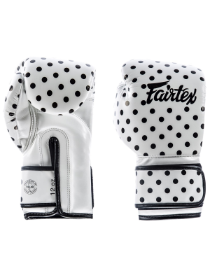 Boxing gloves - Fairtex - 'BGV14WP' - White Polka