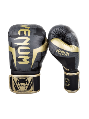 Boxing Gloves - Venum - 'Elite' - Black / Camo/gold